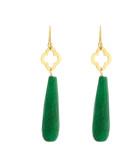 Jade 18ct gold-plated drop earrings