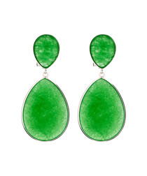 Jade oval drop silver earrings