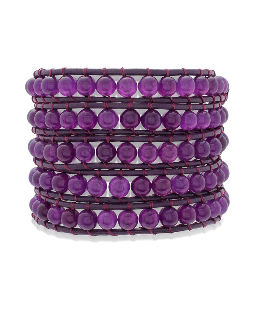 jade violet stacked beaded bracelet designer