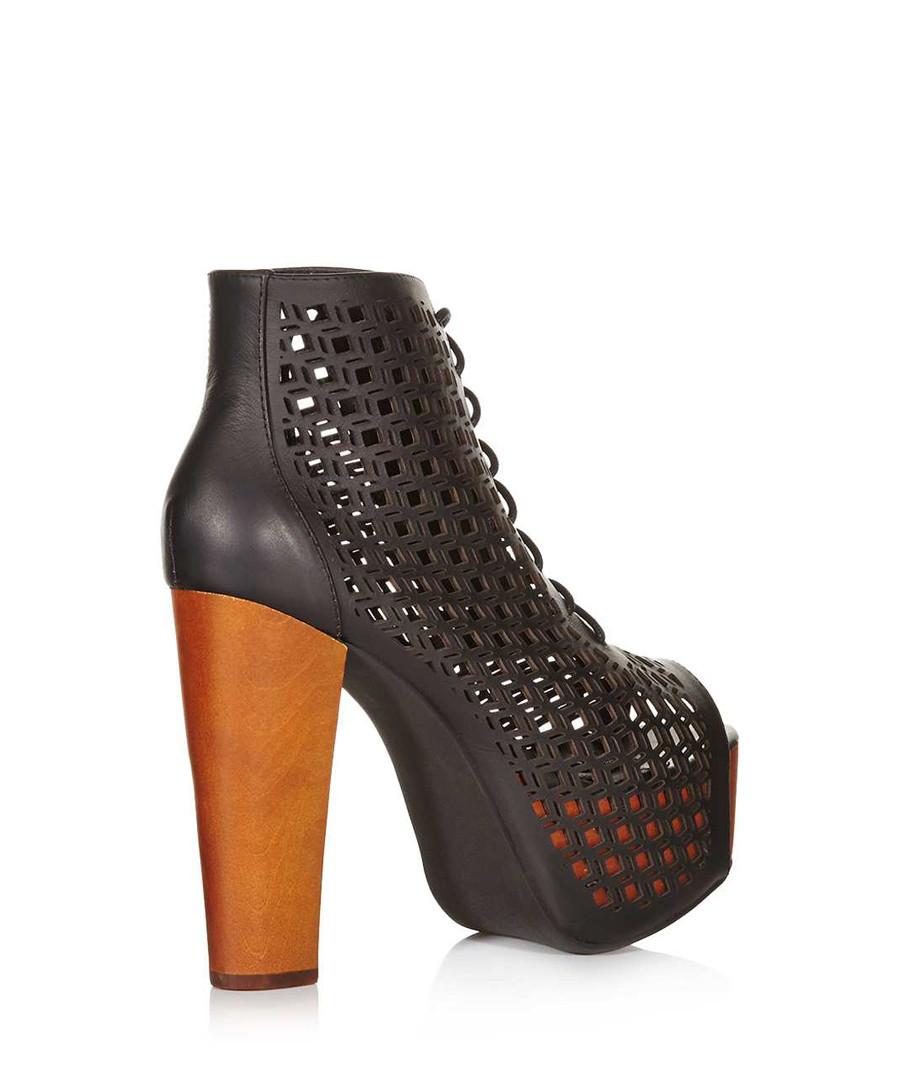 jeffrey campbell gallatin black leather ankle boots designer footwear sale outlet secretsales. Black Bedroom Furniture Sets. Home Design Ideas