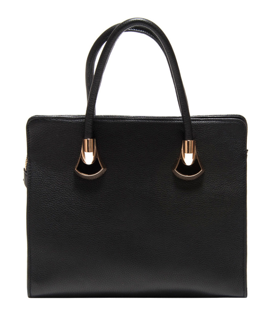 Black leather structured handbag Sale - Roberta M.