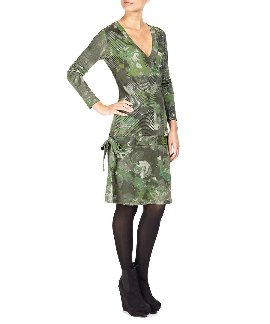 Desigual Mantal Green Camouflage Dress Designer Dresses