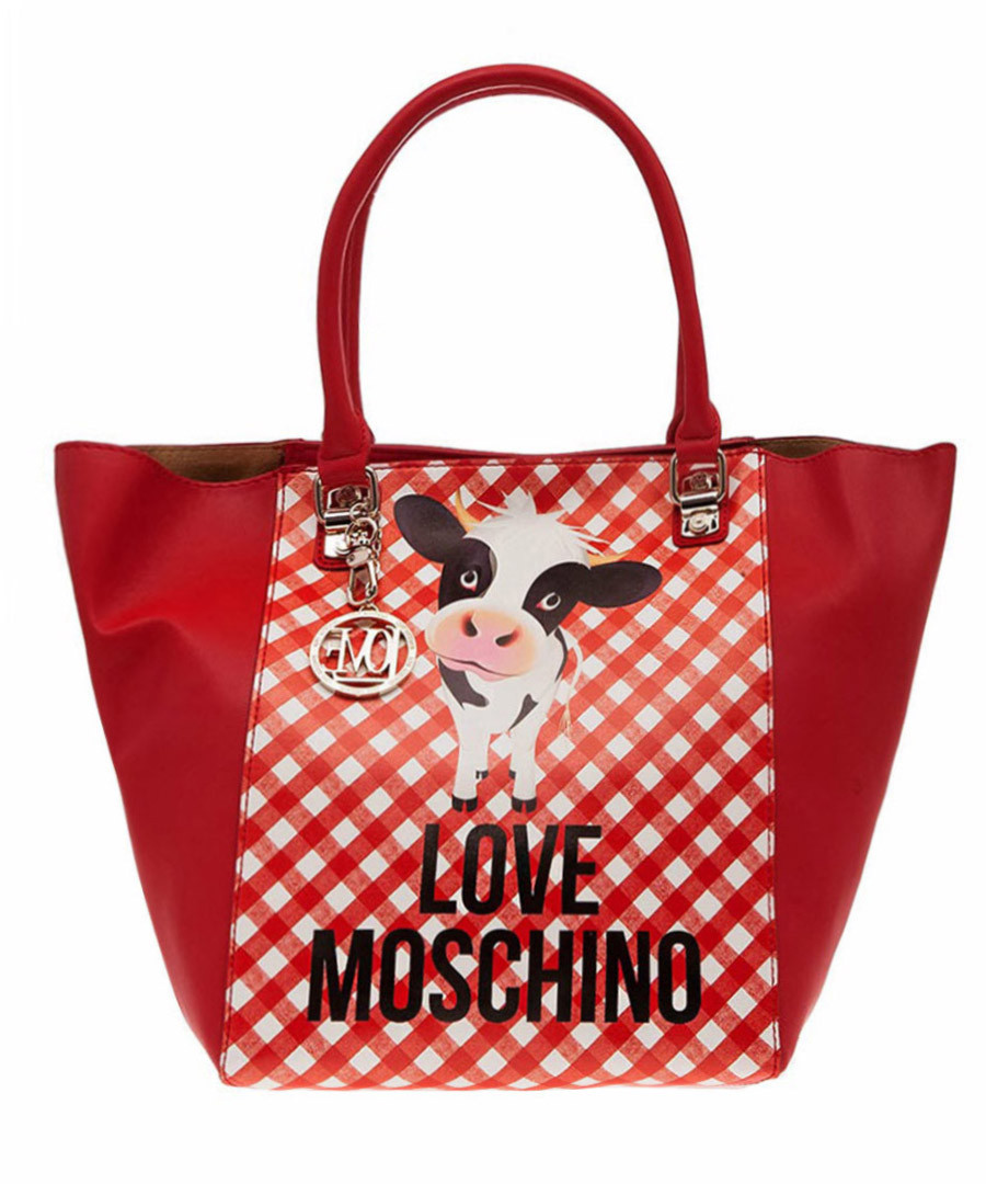 love moschino red cow print tote bag designer bags sale love moschino handbags secretsales. Black Bedroom Furniture Sets. Home Design Ideas