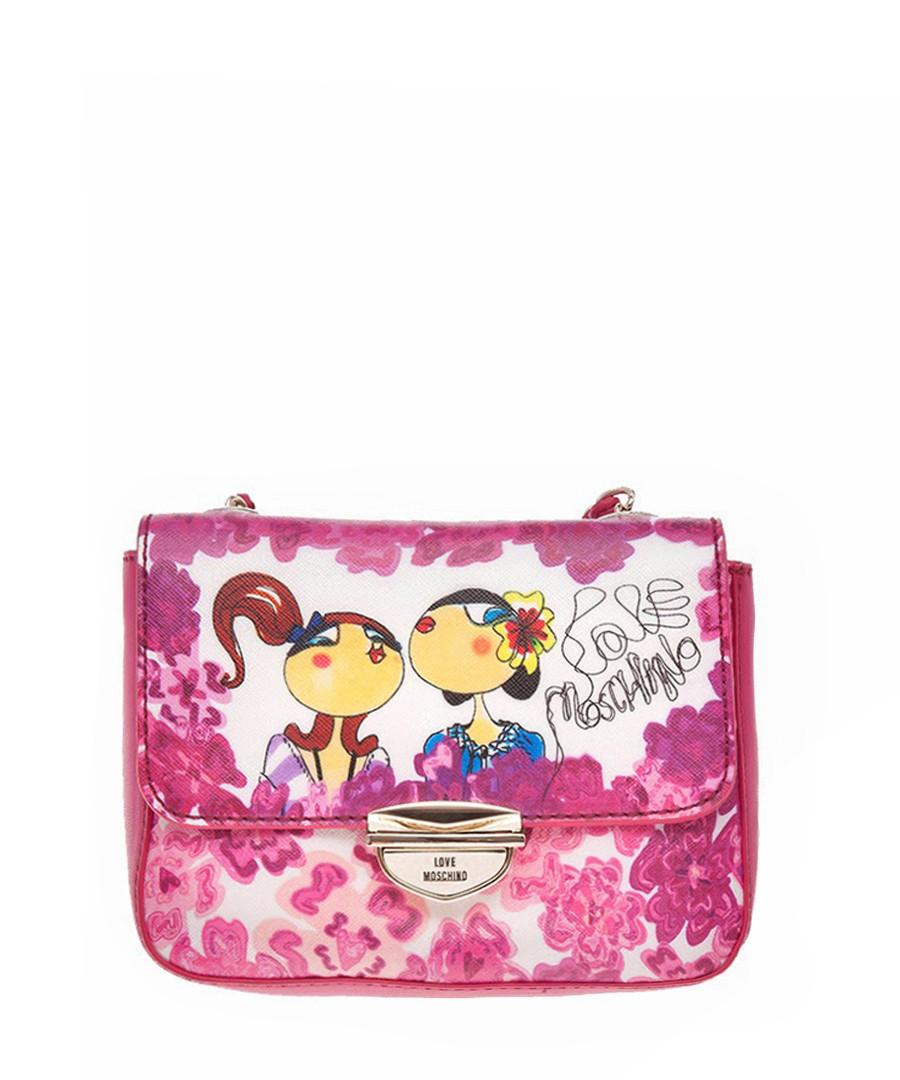 love moschino pink medium girls print shoulder bag designer bags sale love moschino handbags. Black Bedroom Furniture Sets. Home Design Ideas