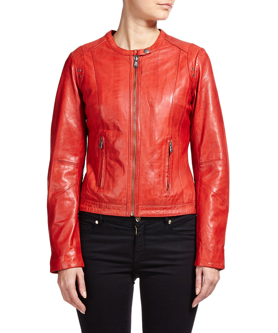 Short red leather jacket
