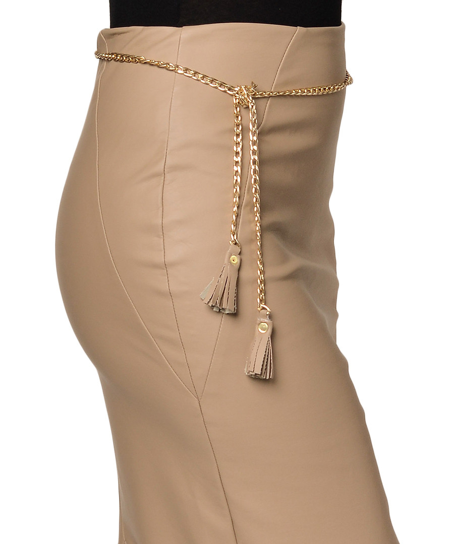 extasy beige leather effect pencil skirt designer skirts