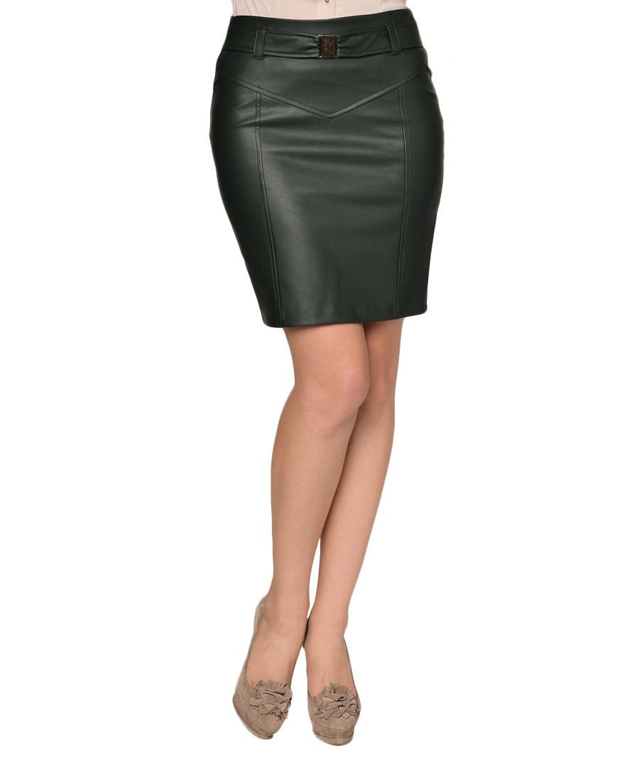 extasy green leather effect pencil skirt designer