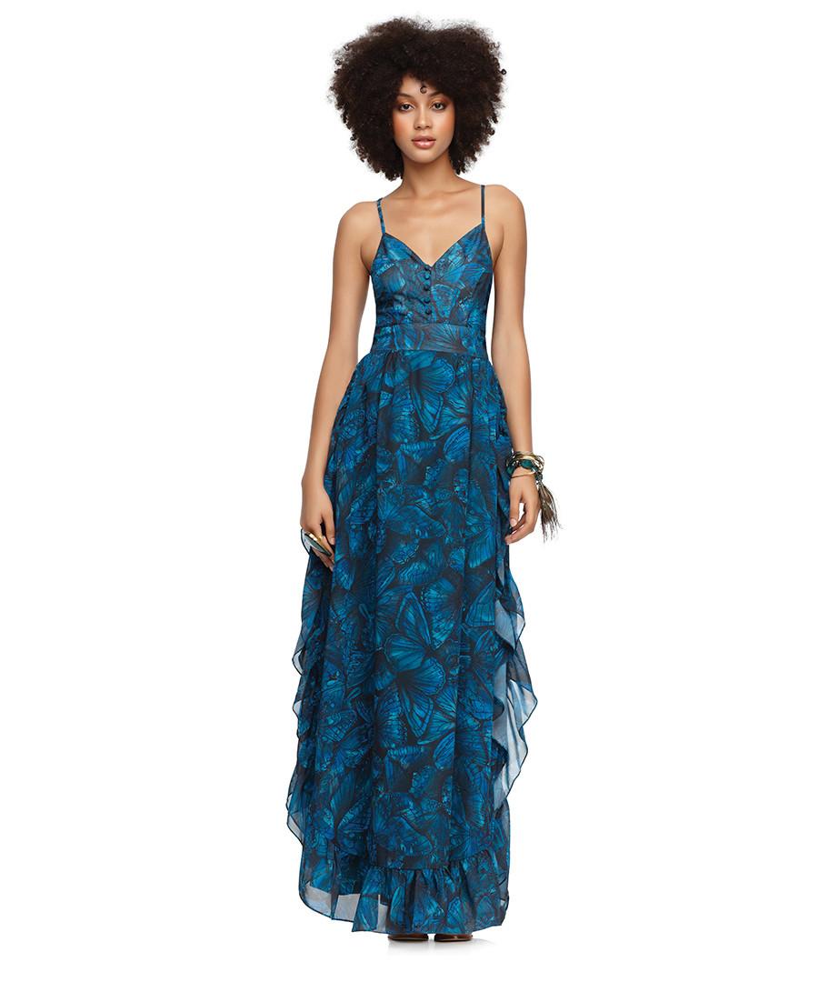 House Of Der On Papillon Blue Camo Long Ruffled Dress