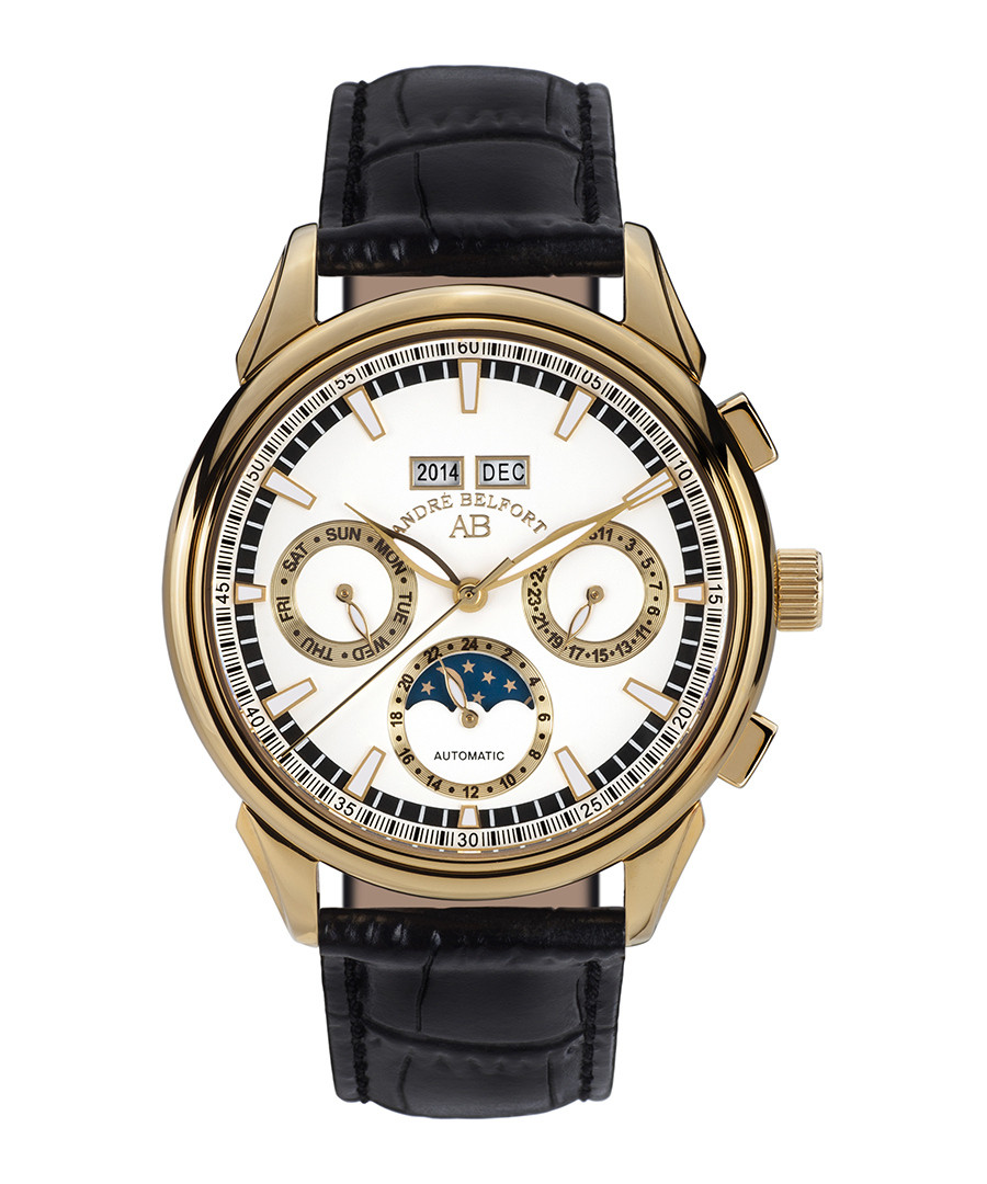 André Belfort Ambassadeur gold-tone & leather watch ...