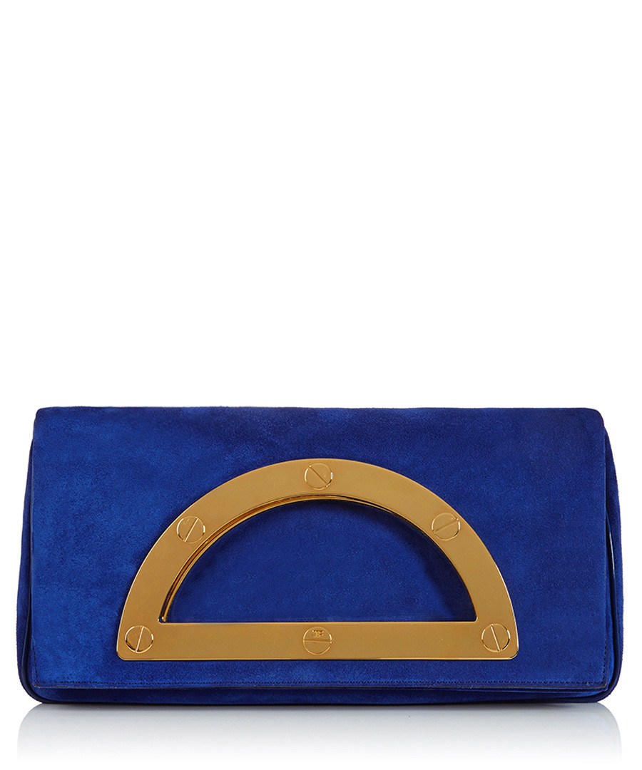 Home Designer Clutches Cobalt blue suede clutch bag