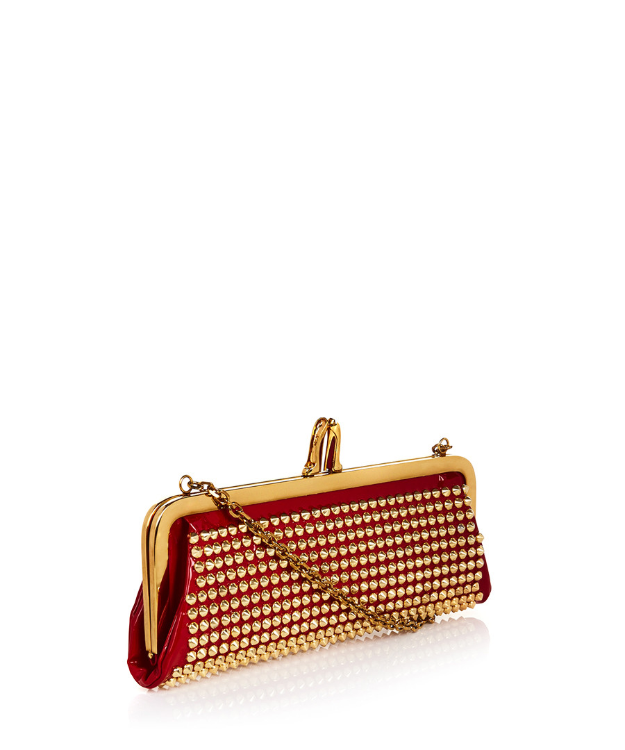 Christian Louboutin Red patent studded clutch bag ...