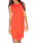 Rust draped front dress