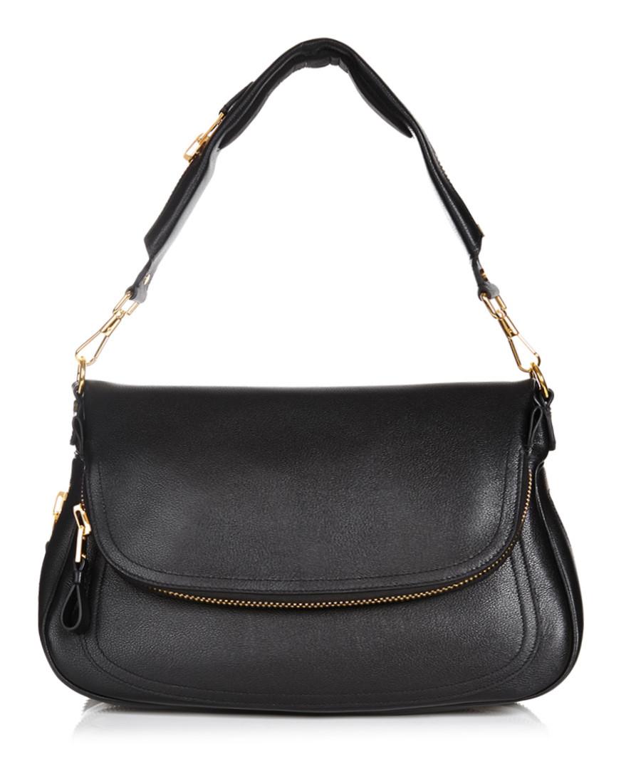 Black Leather Over Shoulder Bag 72