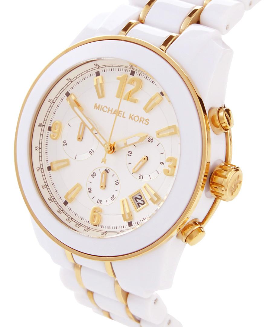 michael kors preston white amp goldtone watch designer