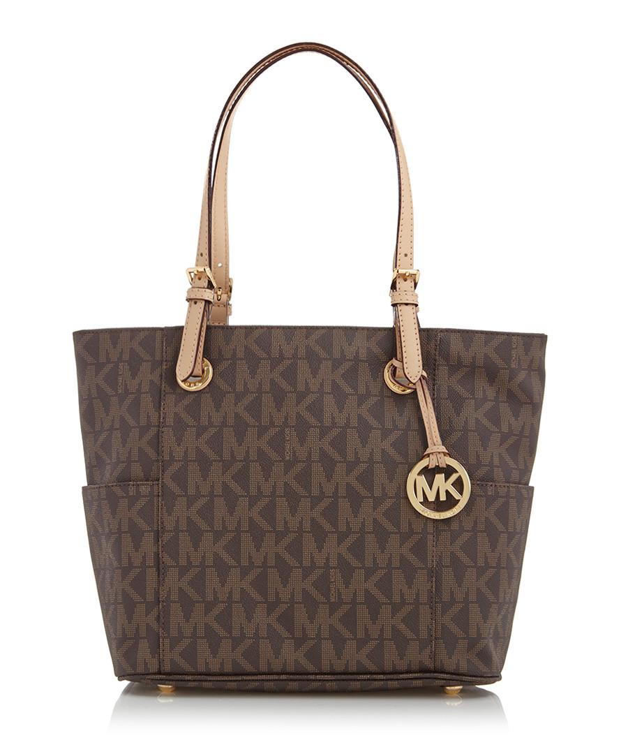Michael Kors Brown Leather Mk Logo Tote Bag Designer Bags