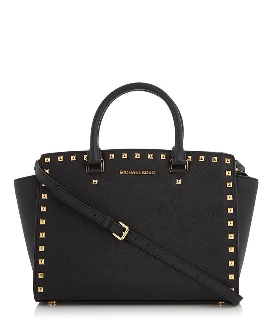 kors black leather studded shopper designer bags sale michael kors. Black Bedroom Furniture Sets. Home Design Ideas