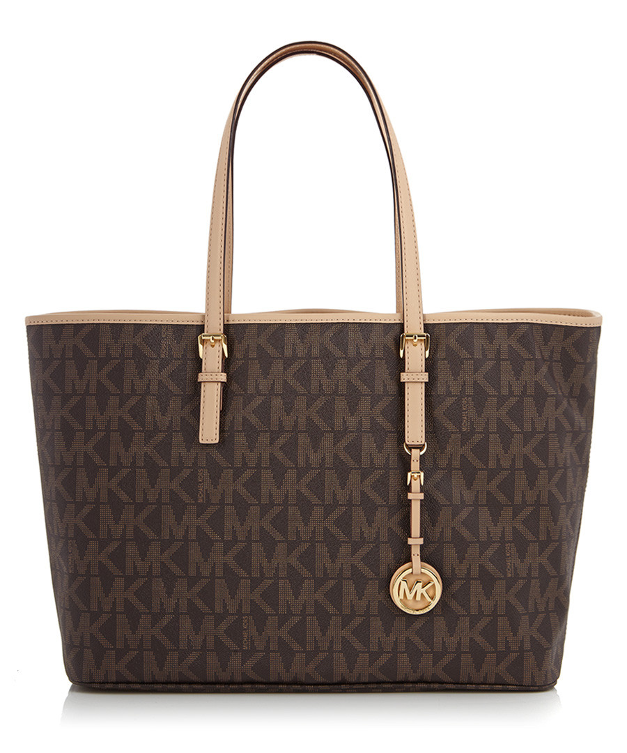 michael kors brown leather mk logo tote bag designer bags sale michael kors bags secretsales. Black Bedroom Furniture Sets. Home Design Ideas