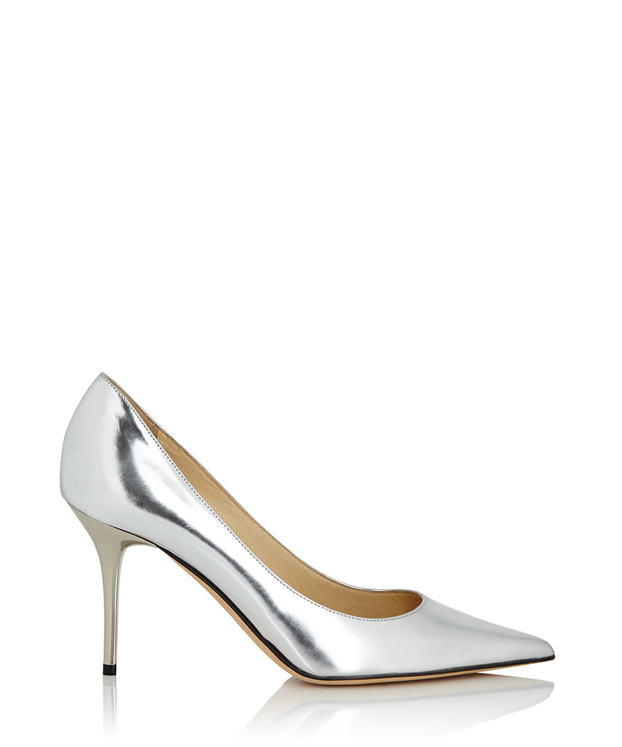 jimmy choo agnes silver leather heels designer footwear sale jimmy choo shoes secretsales. Black Bedroom Furniture Sets. Home Design Ideas
