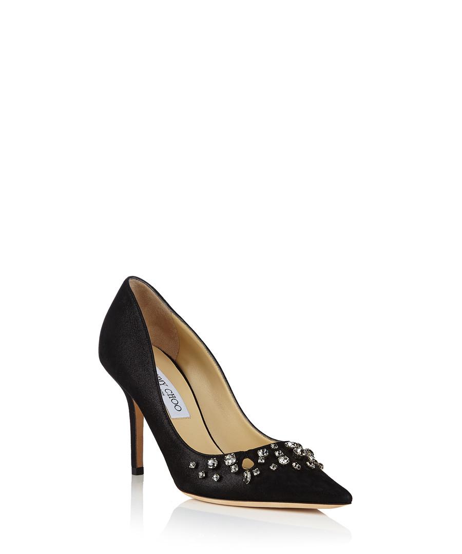 jimmy choo flo black suede crystal heels designer footwear sale jimmy choo shoes secretsales. Black Bedroom Furniture Sets. Home Design Ideas