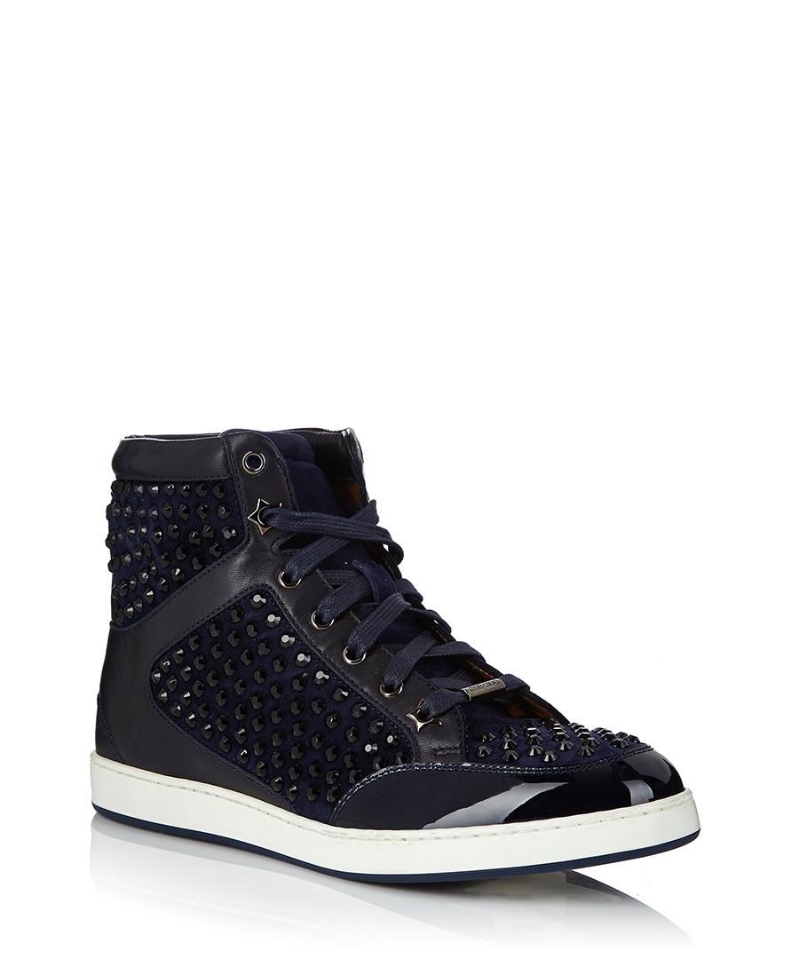 jimmy choo women 39 s tokyo navy suede trainers designer footwear sale jimmy choo shoes secretsales. Black Bedroom Furniture Sets. Home Design Ideas