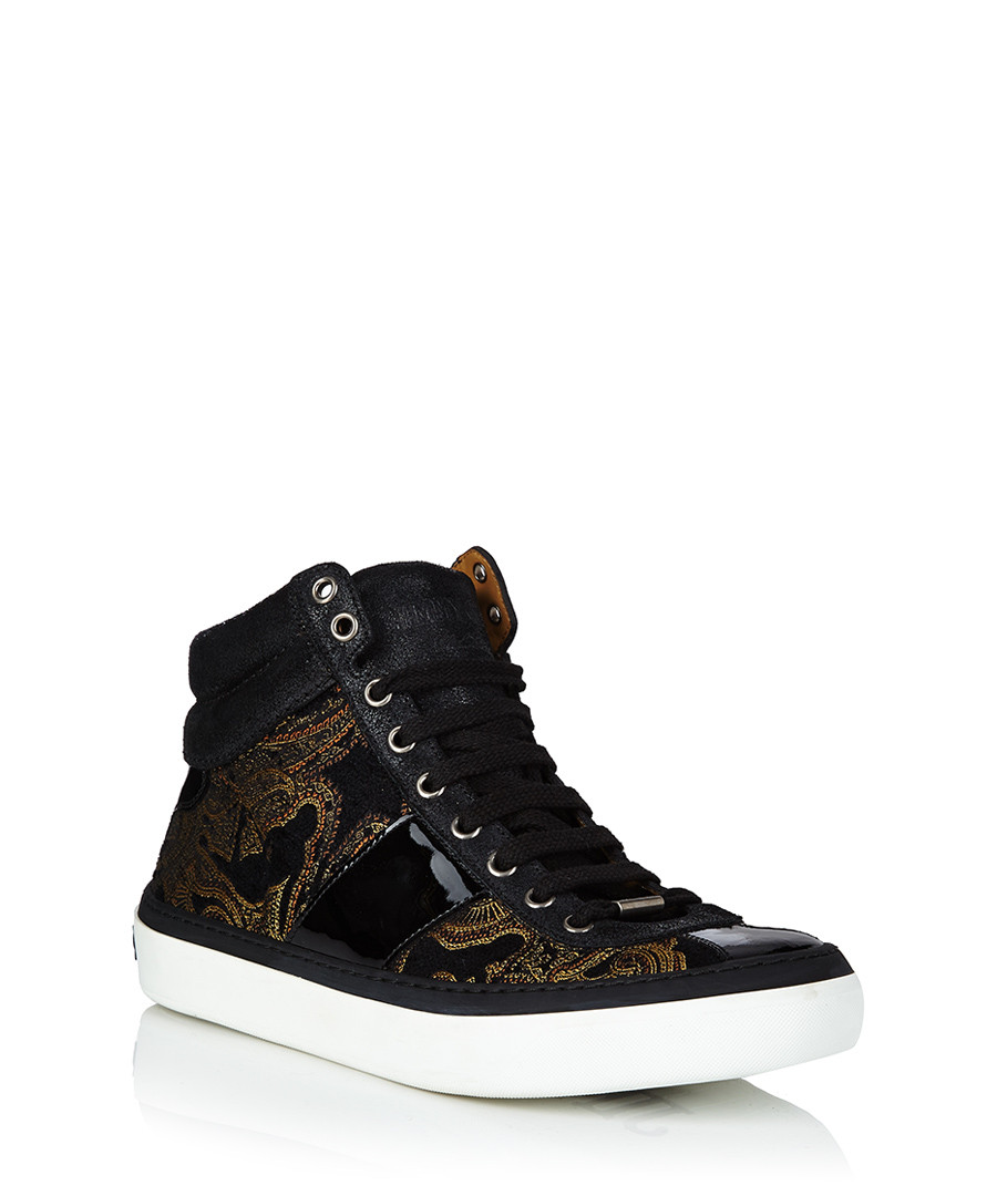 jimmy choo men 39 s belgravi black paisley trainers designer footwear sale jimmy choo shoes. Black Bedroom Furniture Sets. Home Design Ideas