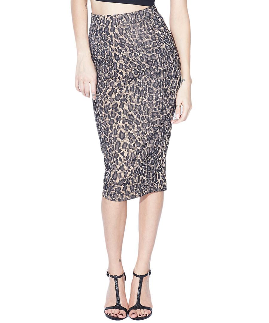 poppy leopard print fifi midi skirt designer