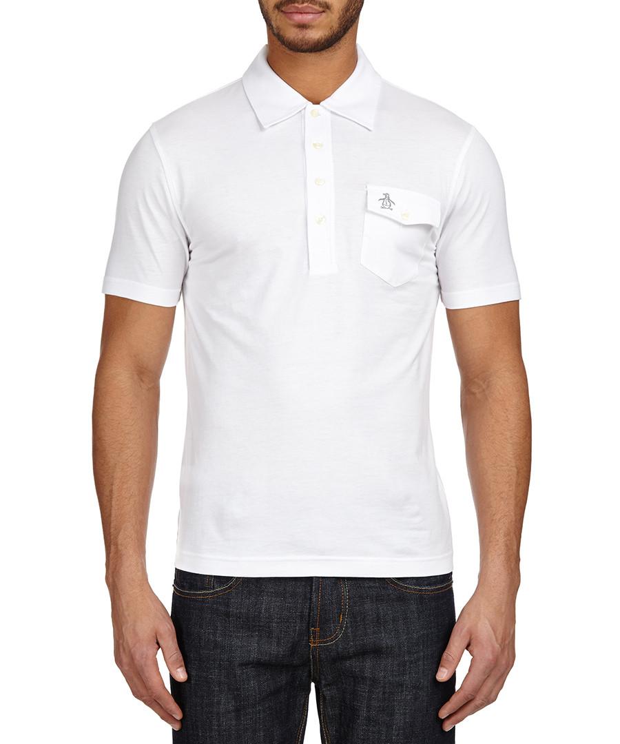 Original penguin white pocket logo polo shirt designer for Polo shirt men sale