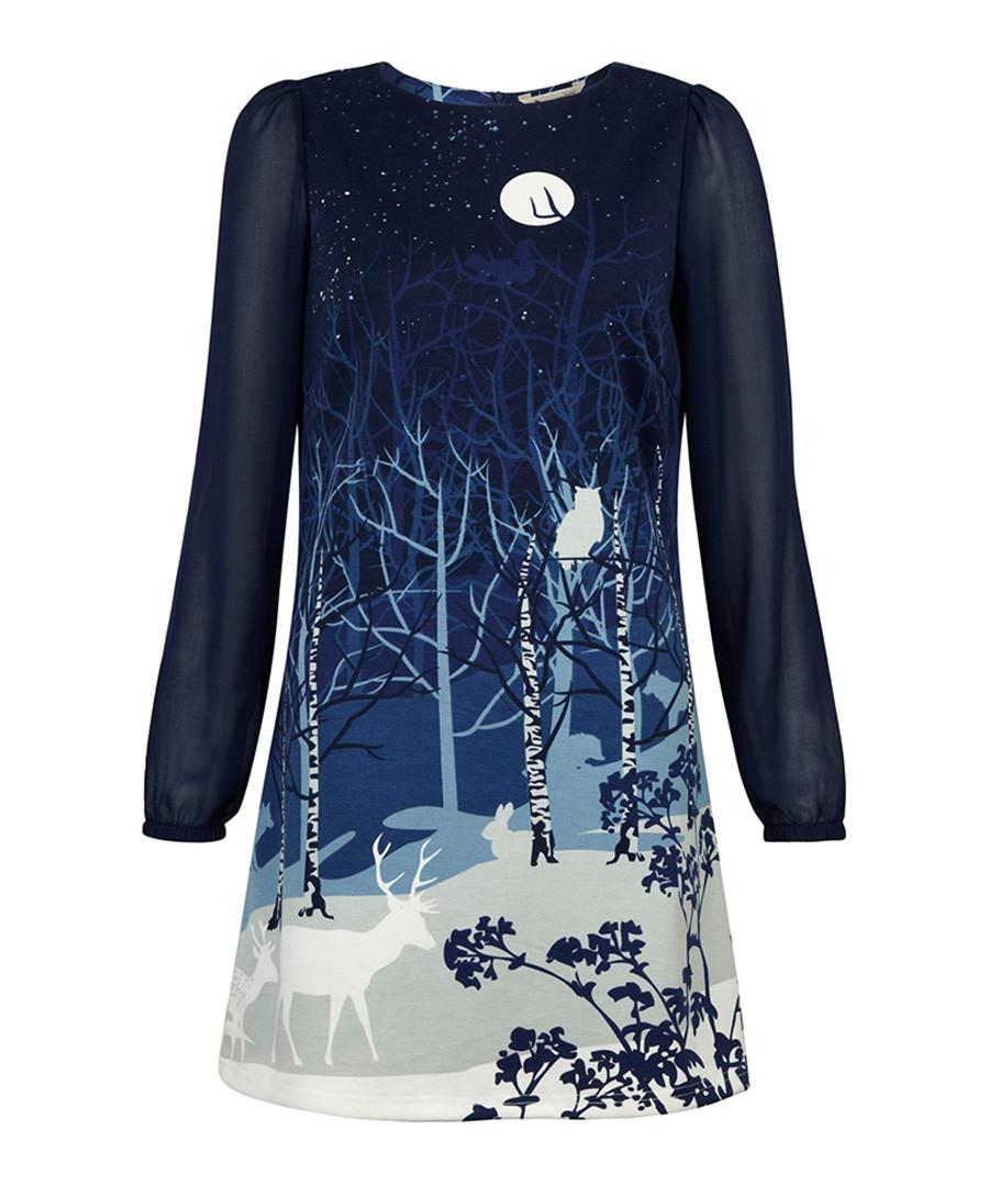 Winter Wonderland blue printed dress Sale - Yumi