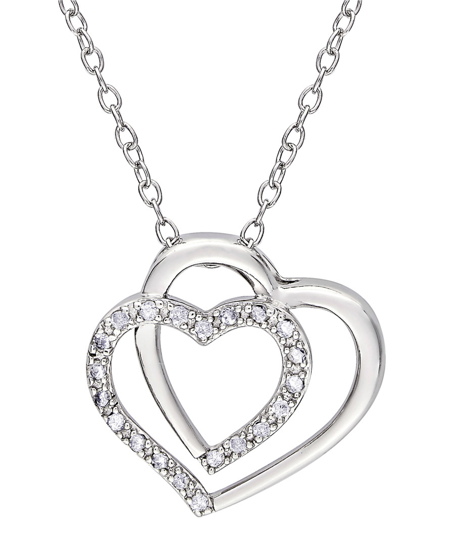 0.11ct diamond & silver heart necklace Sale - Josephs 1870