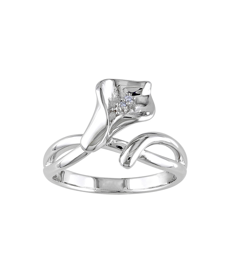 0.011ct diamond & silver flower ring Sale - Josephs 1870