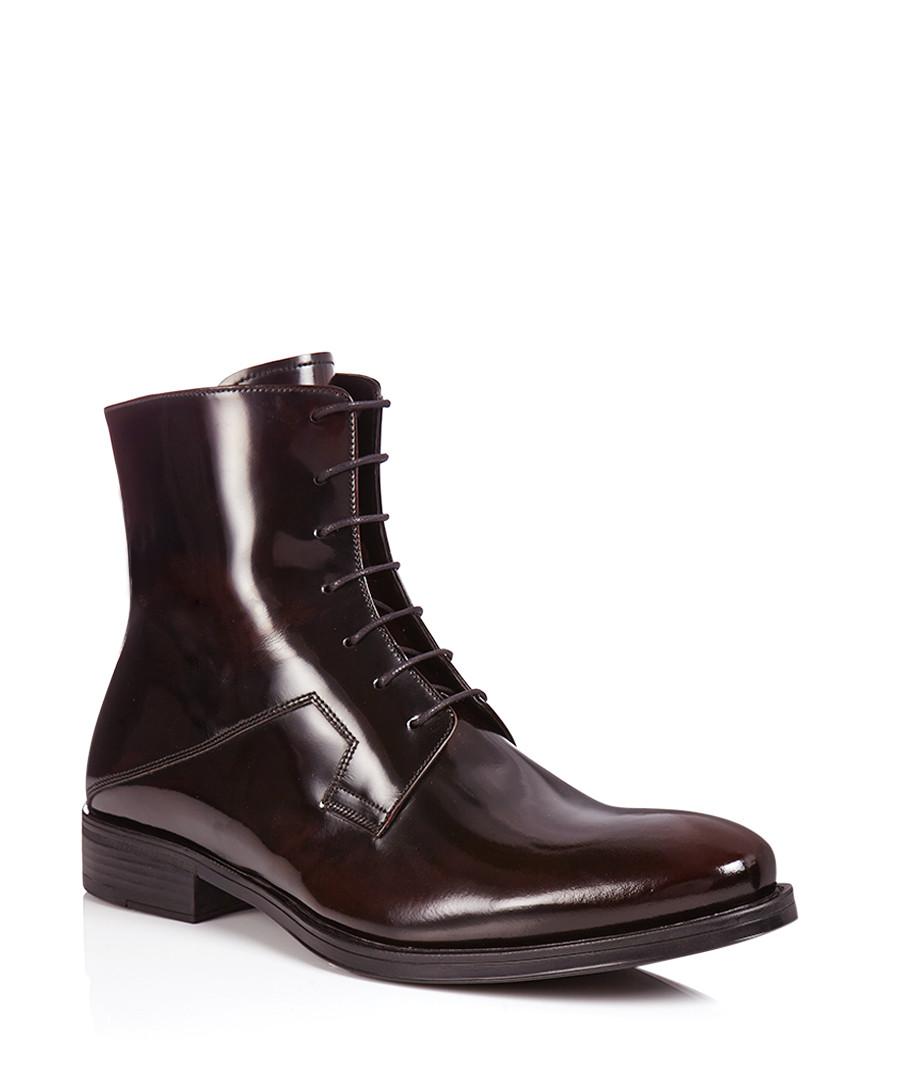 versace collection bordeaux patent leather ankle boots designer footwear sale outlet secretsales. Black Bedroom Furniture Sets. Home Design Ideas