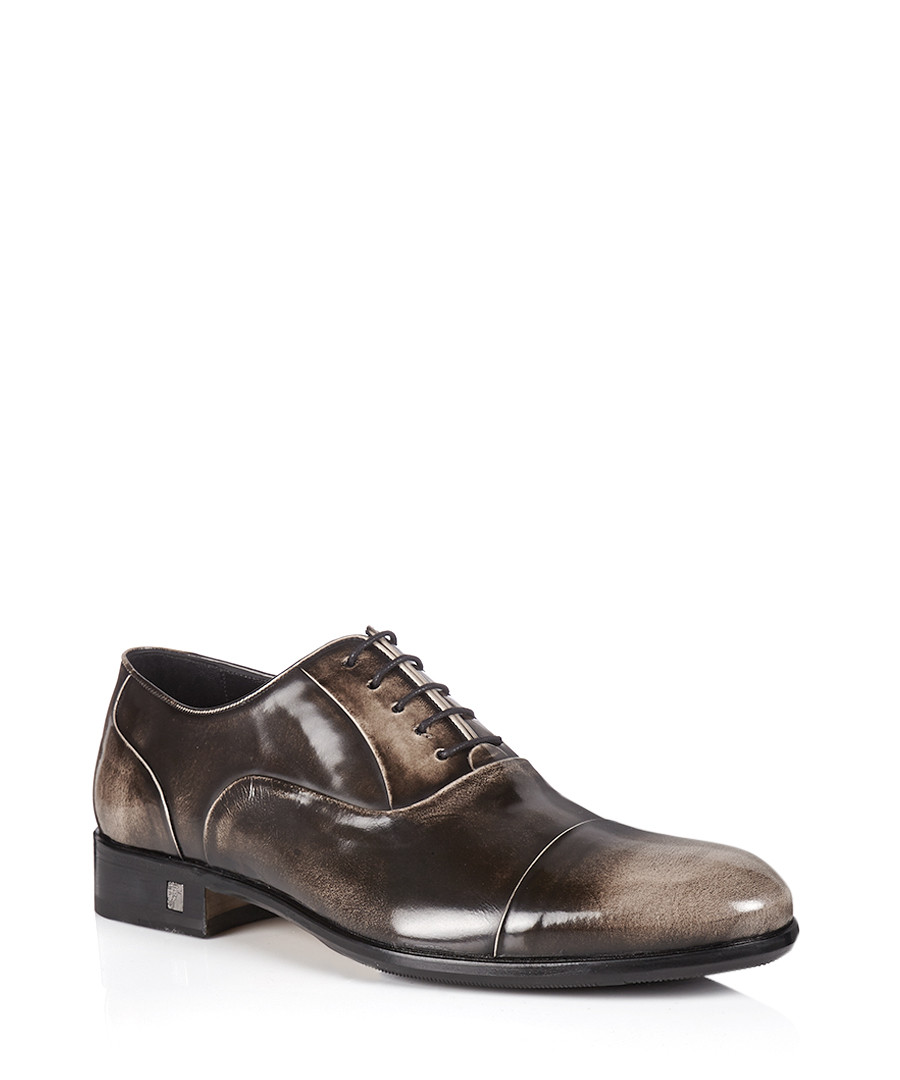 versace collection brown burnished patent leather shoes