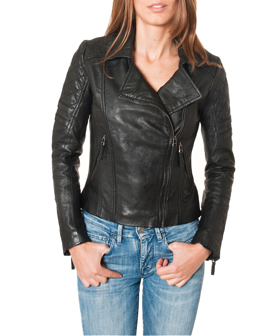 Biker jackets are the classic choice when it comes to finding a women's leather jacket. Moto ribbing adds cool textural interest to your biker jacket. Make sure you love the texture of this jacket, whether you want vegan leather or animal leather. Waterfall leather jackets are a more demure take on the leather jacket. The over-sized collar spilling open gives an interesting silhouette and offers a much softer leather .