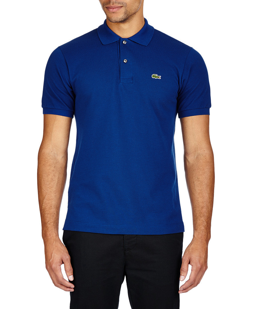 Lacoste royal blue pure cotton polo shirt designer for Polo shirts without buttons