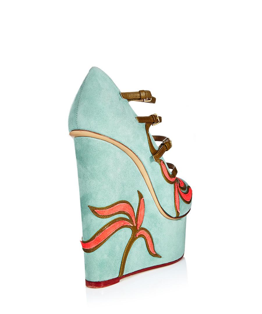 charlotte olympia pickford sky blue suede wedges designer footwear sale designer shoe. Black Bedroom Furniture Sets. Home Design Ideas
