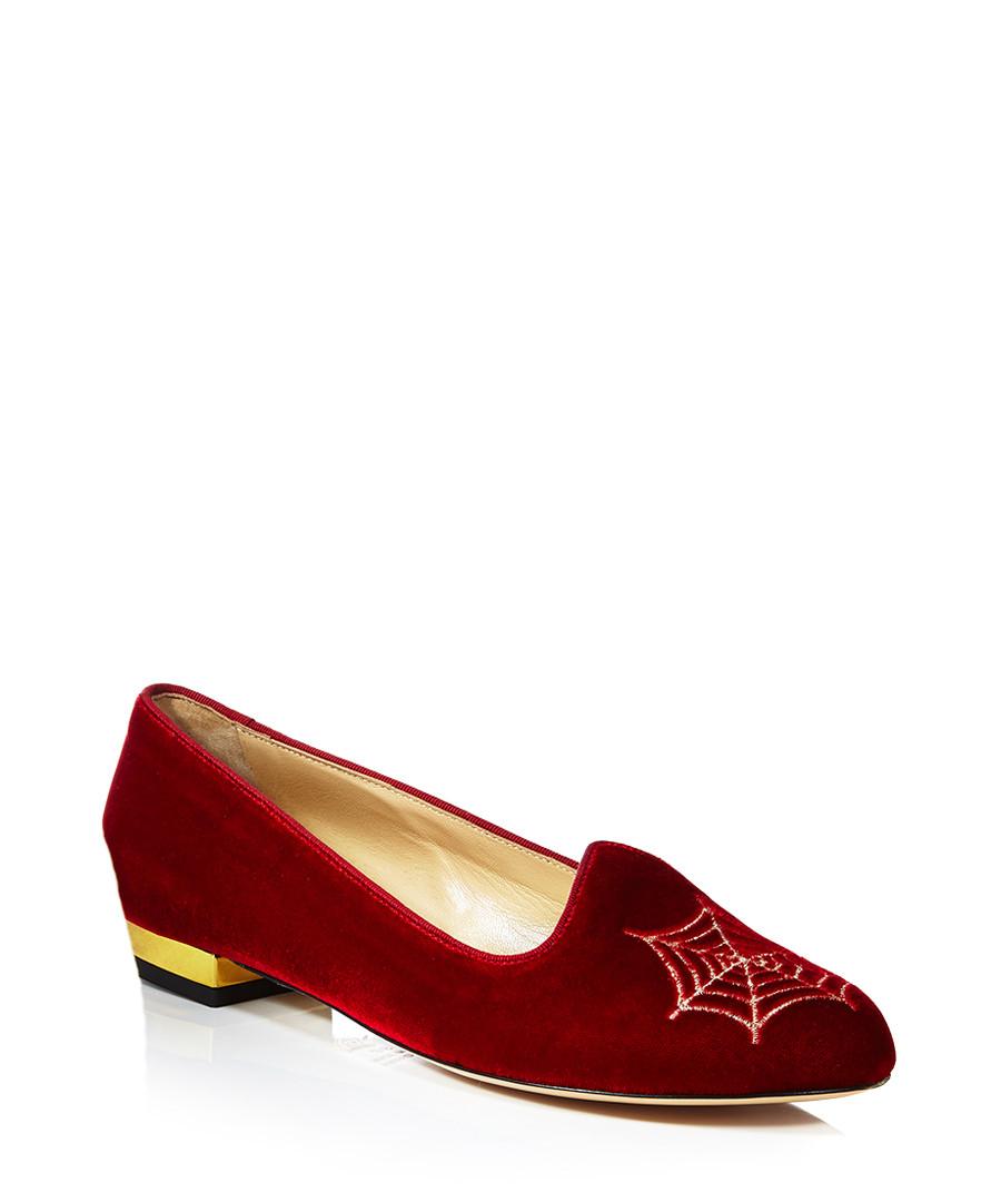 charlotte olympia charlotte 39 s web red velvet flats designer footwear sale charlotte olympia. Black Bedroom Furniture Sets. Home Design Ideas