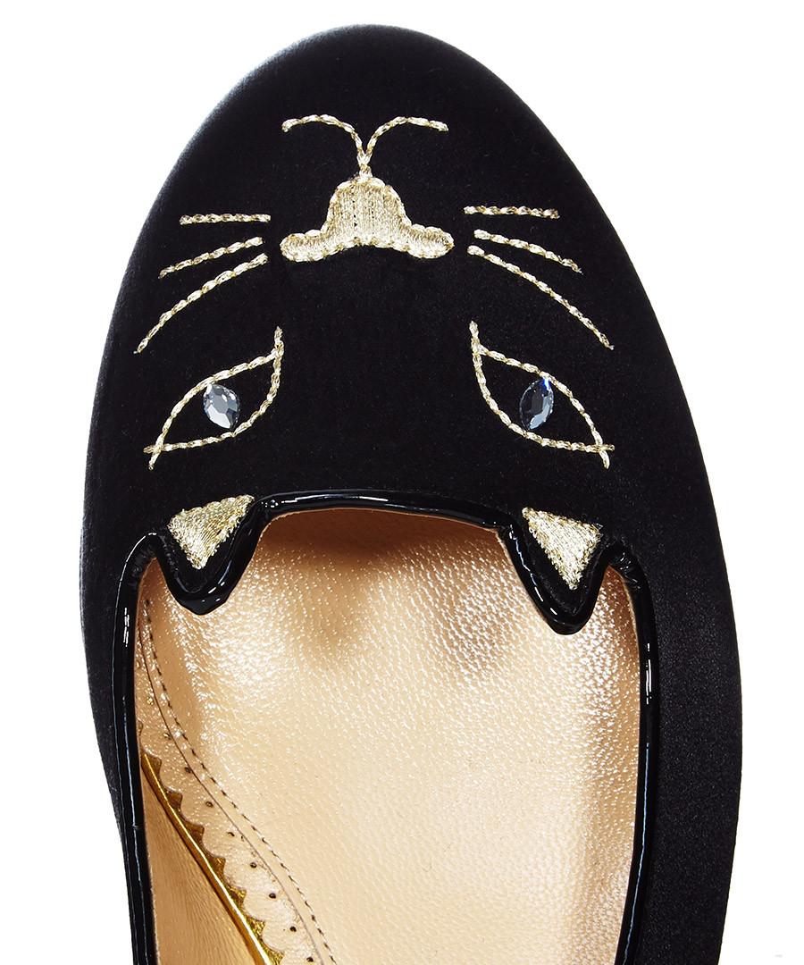 charlotte olympia kitty black silk flats designer footwear sale charlotte olympia secret sales. Black Bedroom Furniture Sets. Home Design Ideas