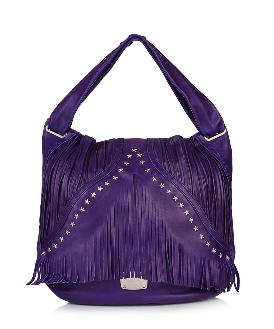 Home Designer Handbag Edit Purple leather fringe trim shoulder bag