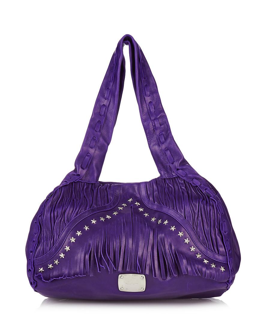 Home Designer Handbag Edit Purple leather fringe trim hobo bag
