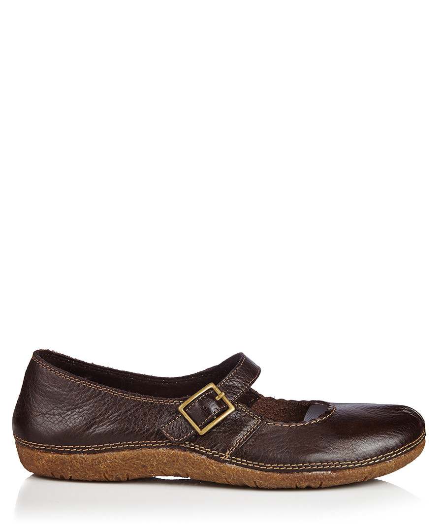 Hush Puppies Dark Brown Leather Mary Jane Flat Shoes Designer Footwear Sale Outlet  SECRETSALES