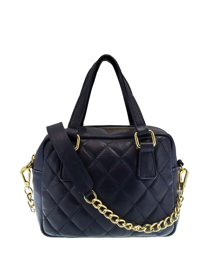 Home High-Fashion Leather Handbags Blue leather chain strap grab bag