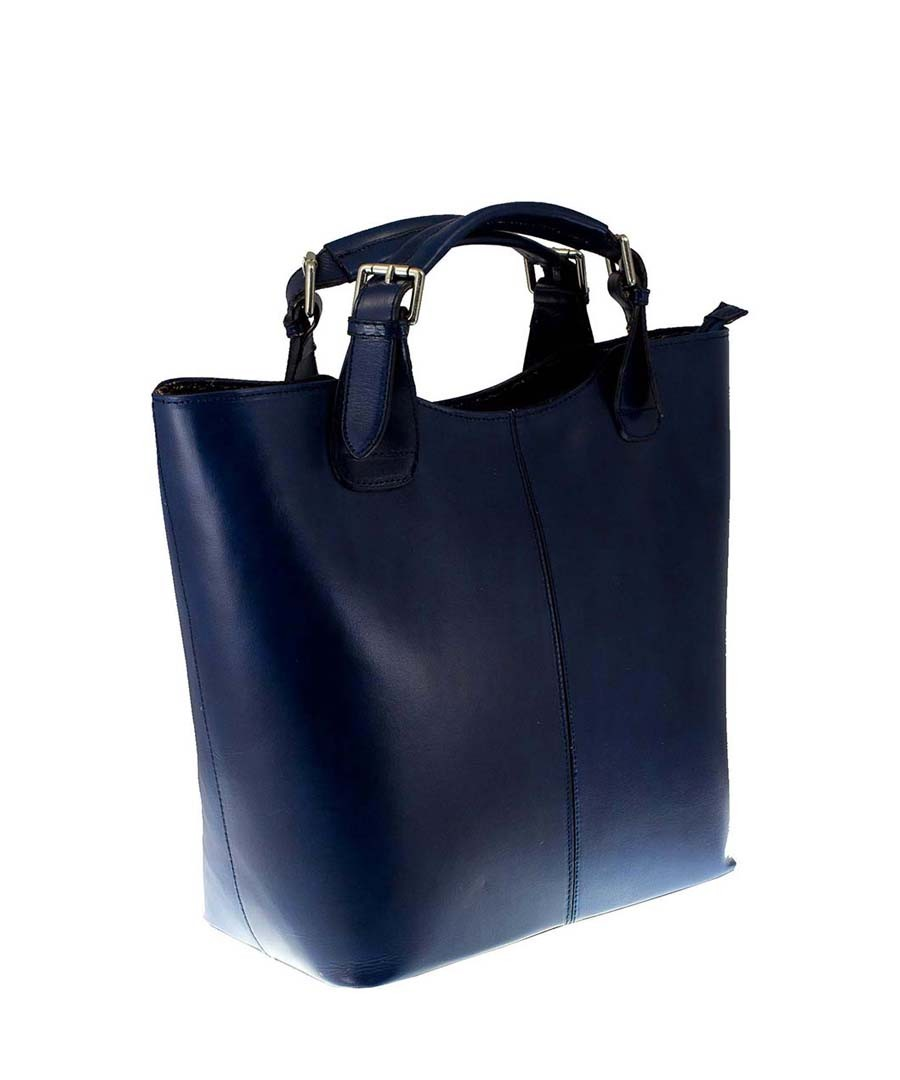 Blue leather structured tote bag Sale - MASSIMO CASTELLI Sale