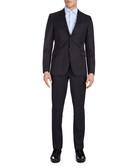 2pc navy pure wool tonal weave suit set