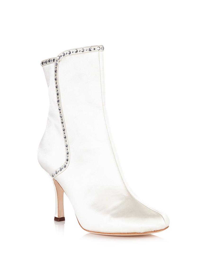 benjamin bridal ivory ankle boots designer