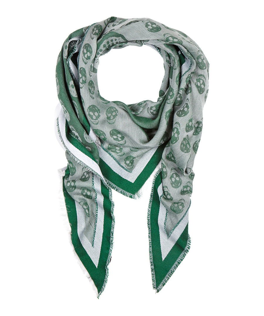 mcqueen green white triangular scarf designer