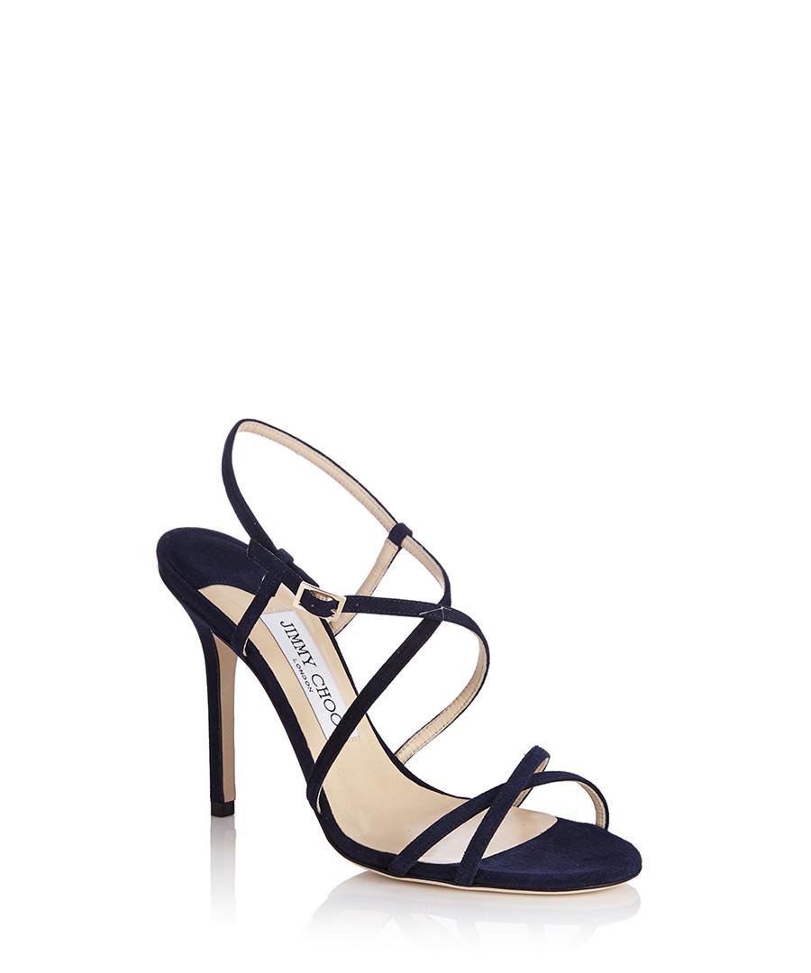 Navy Block Heel Strappy Shoes