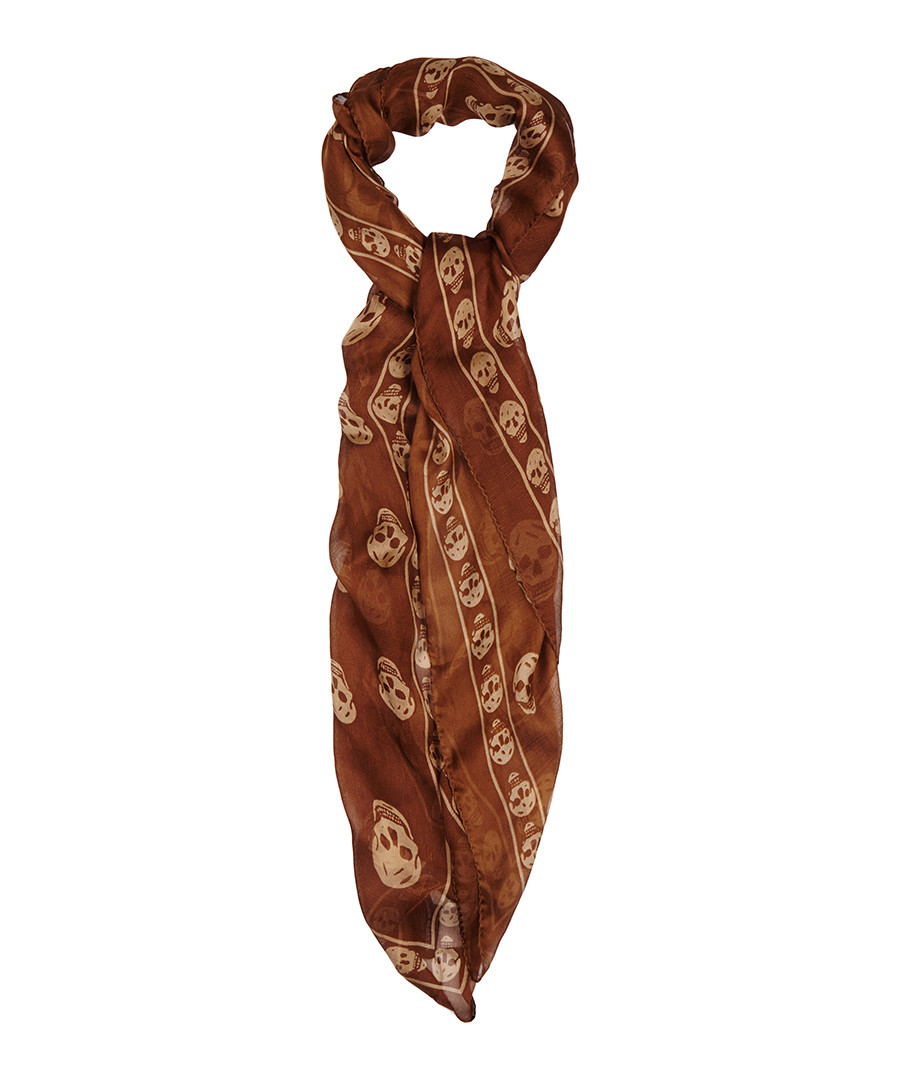 mcqueen brown skull scarf designer accessories