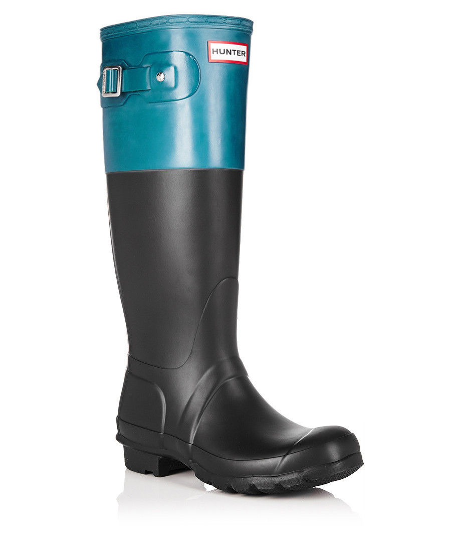 Hunter Black & blue matte Wellington boots, Designer ...