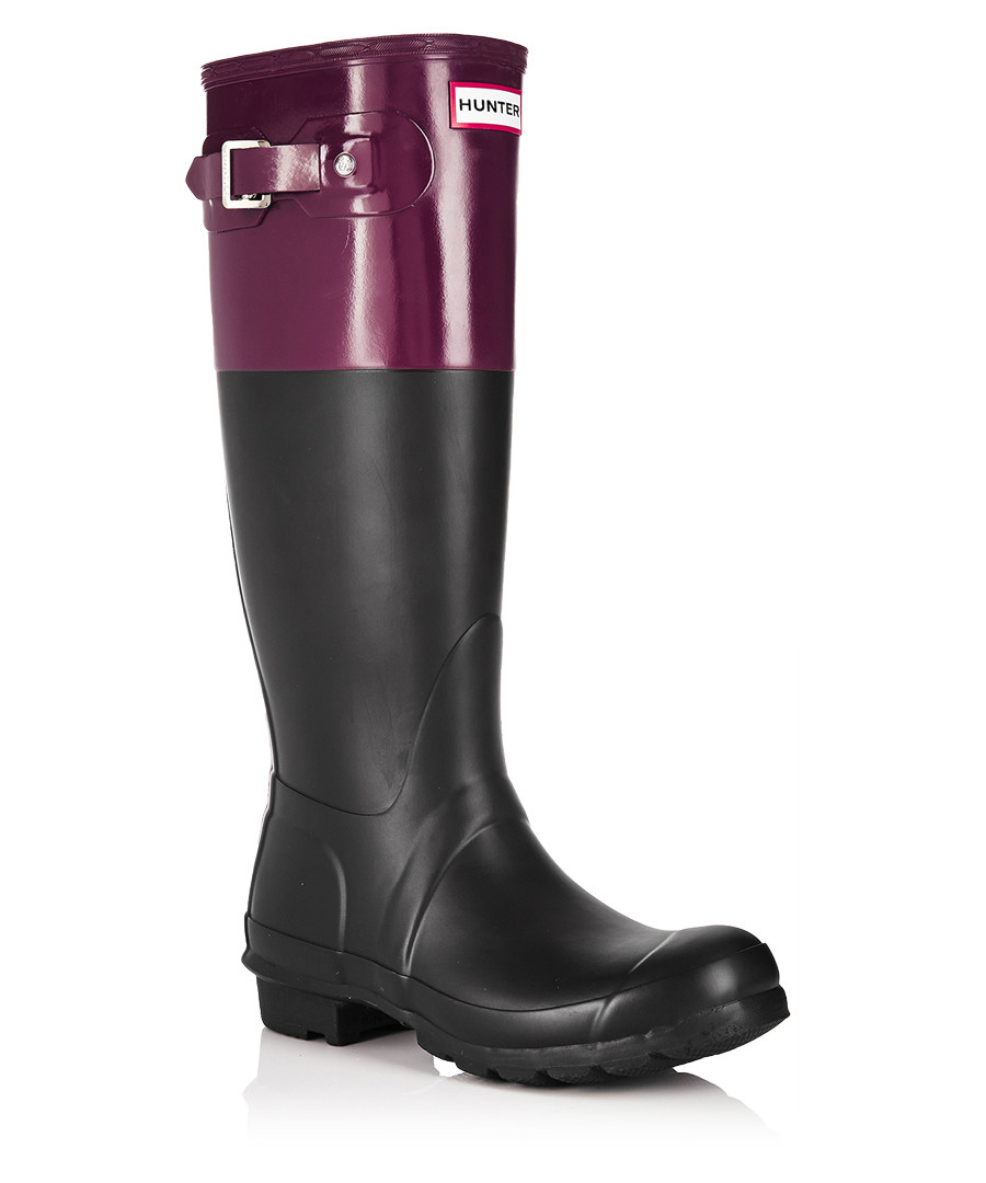 hunter black burgundy wellington boots designer footwear sale hunter secretsales. Black Bedroom Furniture Sets. Home Design Ideas