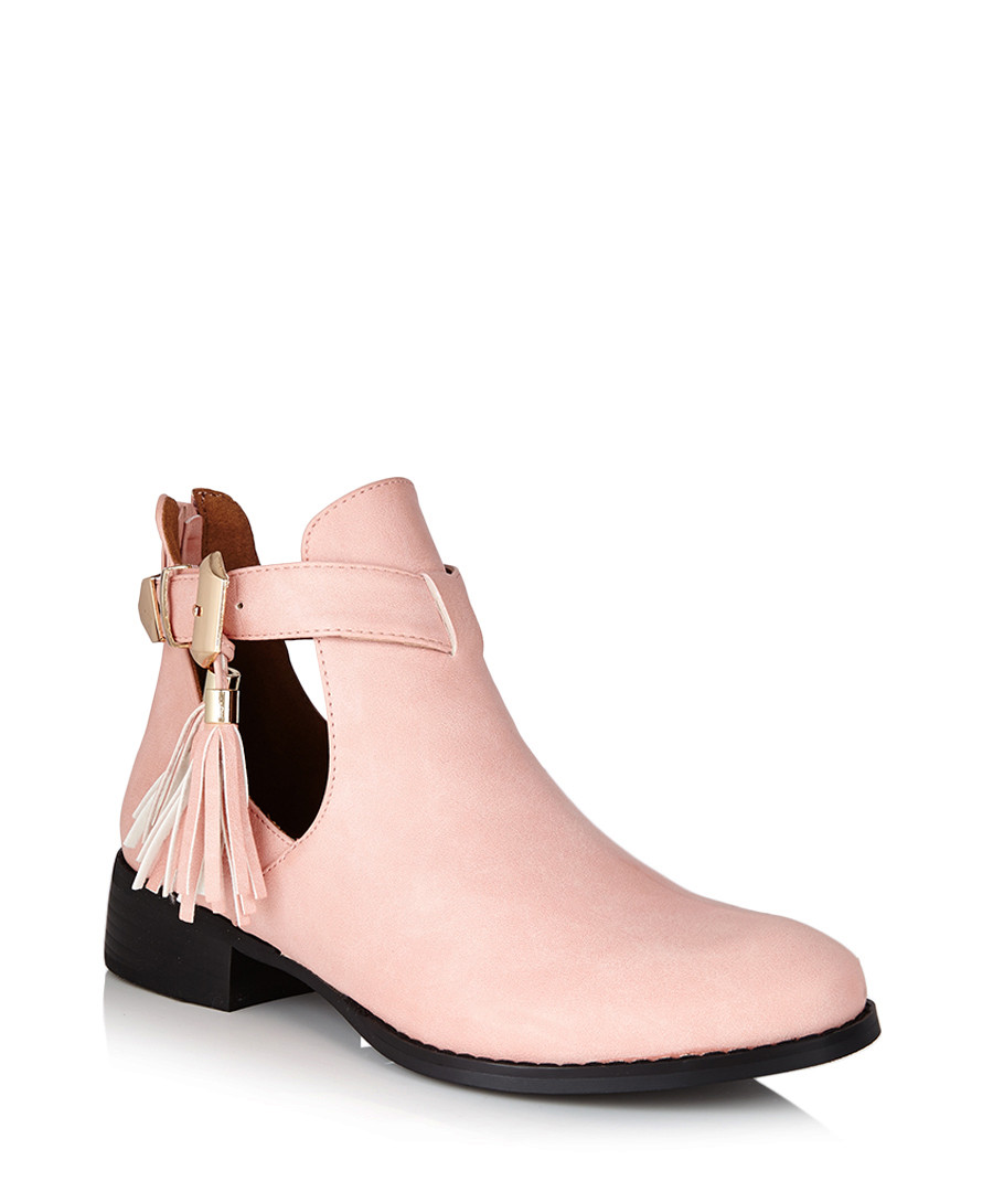 Pastel Pink Ankle Boots Pastel Pink Cut-out Ankle